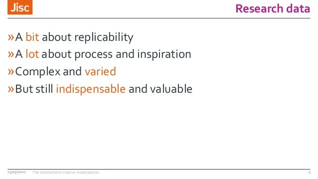 Research data »A bit about replicability »A lot about process and inspiration »Complex and varied »But still indispensable...