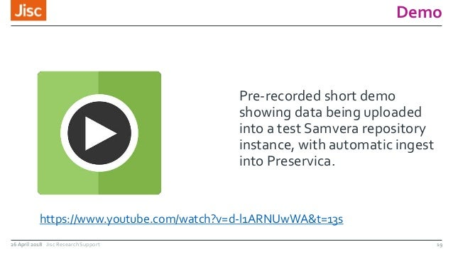 Demo Pre-recorded short demo showing data being uploaded into a test Samvera repository instance, with automatic ingest in...