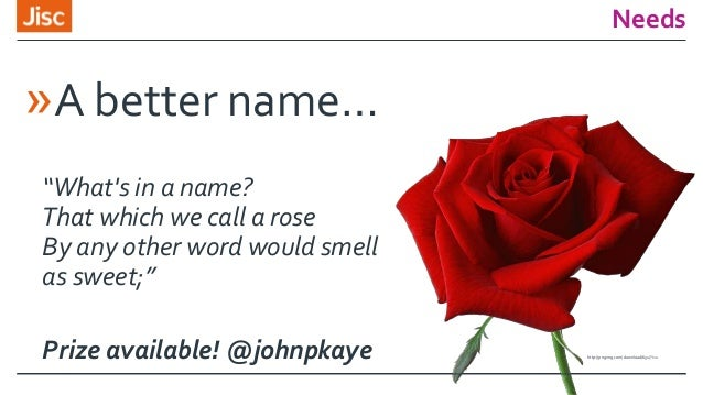 """Needs »A better name… """"What's in a name? That which we call a rose By any other word would smell as sweet;"""" Prize availabl..."""