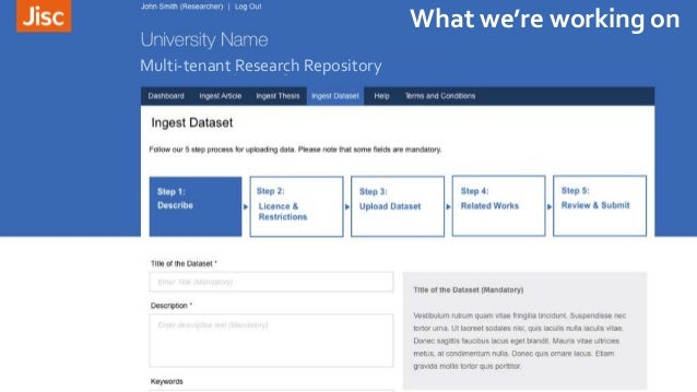 Multi-tenant Research Repository What we're working on