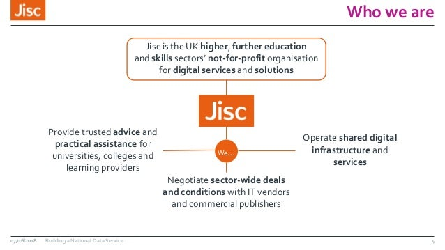 Who we are 07/06/2018 Building a National Data Service Jisc is the UK higher, further education and skills sectors' not-fo...