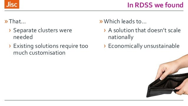 In RDSS we found »That… › Separate clusters were needed › Existing solutions require too much customisation »Which leads t...