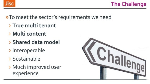 The Challenge »To meet the sector's requirements we need › True multi tenant › Multi content › Shared data model › Interop...