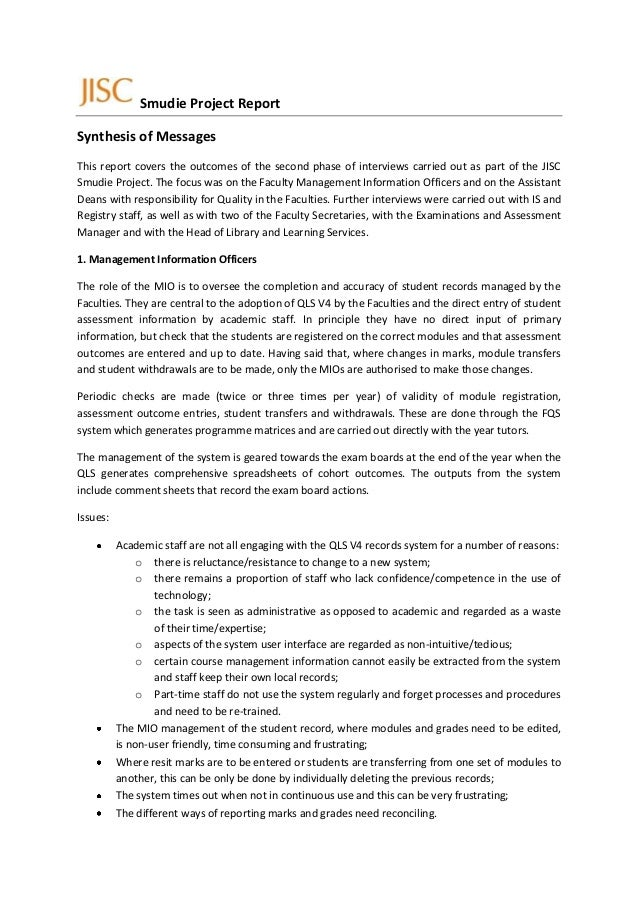 Smudie Project ReportSynthesis of MessagesThis report covers the outcomes of the second phase of interviews carried out as...