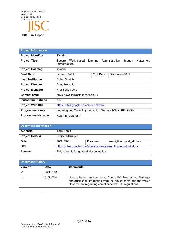 Project Identifier: SWANIVersion: v2Contact: Tony TooleDate: 08/12/11JISC Final ReportProject InformationProject Identifie...
