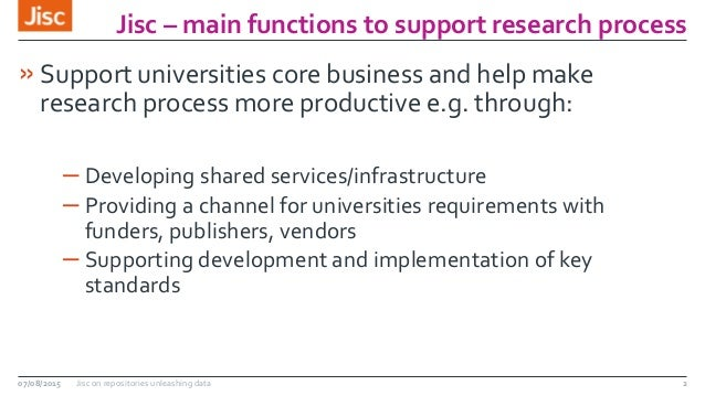 Jisc – main functions to support research process 2 »Support universities core business and help make research process mor...