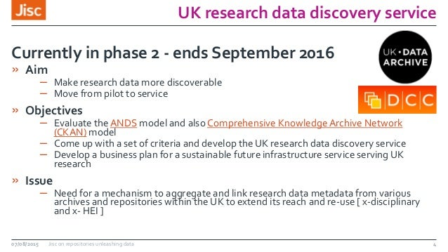 UK research data discovery service 07/08/2015 Jisc on repositories unleashing data 4 » Aim – Make research data more disco...