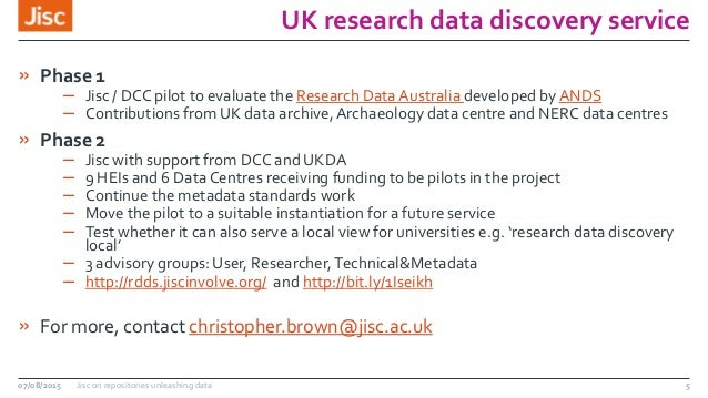 UK research data discovery service » Phase 1 – Jisc / DCC pilot to evaluate the Research Data Australia developed byANDS –...