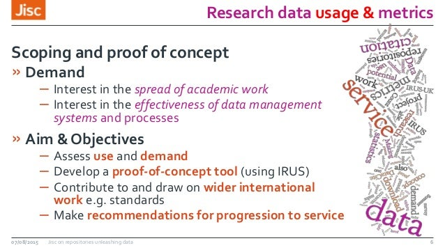 Research data usage & metrics 07/08/2015 Jisc on repositories unleashing data 6 » Demand – Interest in the spread of acade...