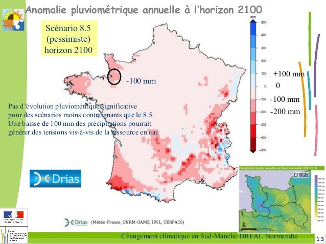 13Changement climatique en Sud-Manche DREAL Normandie Anomalie pluviométrique annuelle à l'horizon 2100 -100 mm 0 +100 mm ...