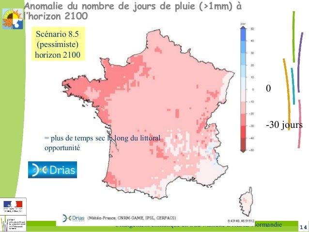 14Changement climatique en Sud-Manche DREAL Normandie Anomalie du nombre de jours de pluie (>1mm) à l'horizon 2100 0 -30 j...