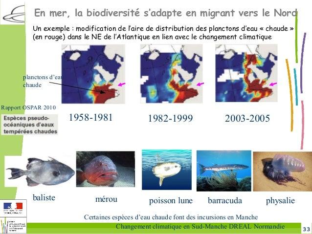 33Changement climatique en Sud-Manche DREAL Normandie Un exemple: modification de l'aire de distribution des planctons d'...