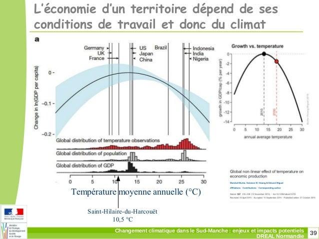 39Changement climatique dans le Sud-Manche: enjeux et impacts potentiels DREAL Normandie L'économie d'un territoire dépen...