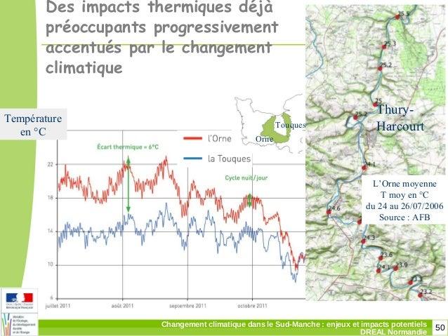 50Changement climatique dans le Sud-Manche: enjeux et impacts potentiels DREAL Normandie Des impacts thermiques déjà préo...