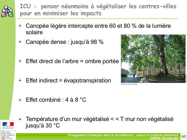 60Changement climatique dans le Sud-Manche: enjeux et impacts potentiels DREAL Normandie ICU: penser néanmoins à végétal...