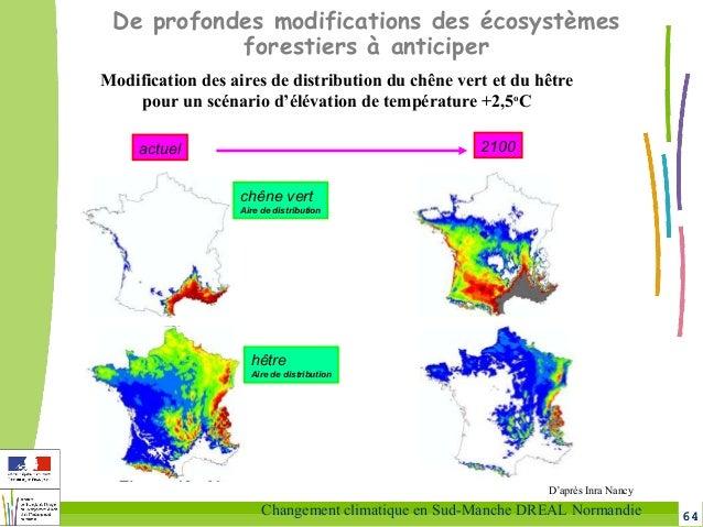 64Changement climatique en Sud-Manche DREAL Normandie Modification des aires de distribution du chêne vert et du hêtre pou...