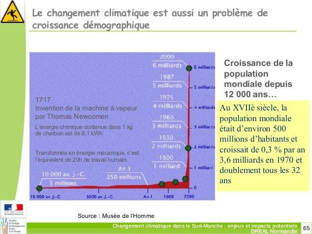65Changement climatique dans le Sud-Manche: enjeux et impacts potentiels DREAL Normandie Le changement climatique est aus...