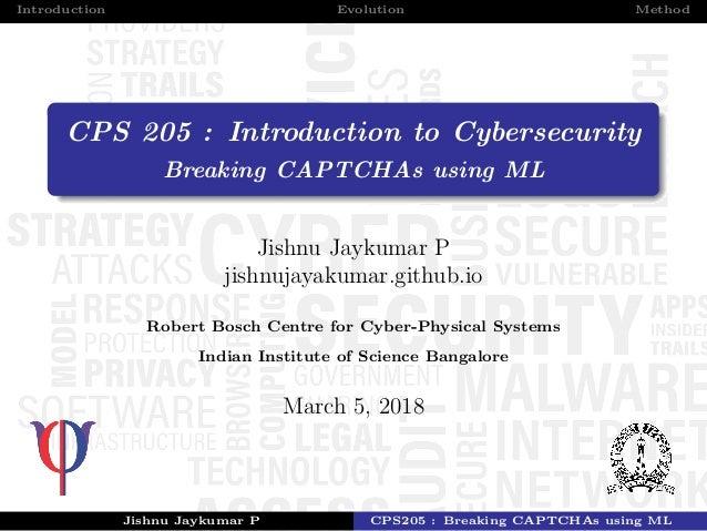 Breaking CAPTCHAs using ML