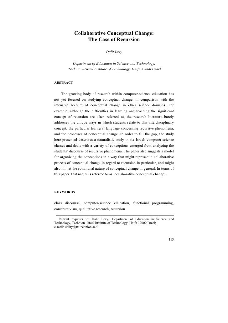 Collaborative Conceptual Change:                  The Case of Recursion                                 Dalit Levy        ...