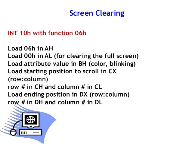 Int 21 H For Screen Display