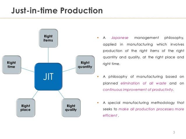 just in time production Just-in-time manufacturing one of the biggest innovations in supply chain management has been the concept of just-in-time manufacturing by utilizing jit manufacturing, companies can significantly reduce costs by reducing the amount of time raw materials lay idle, awaiting use and taking up space.