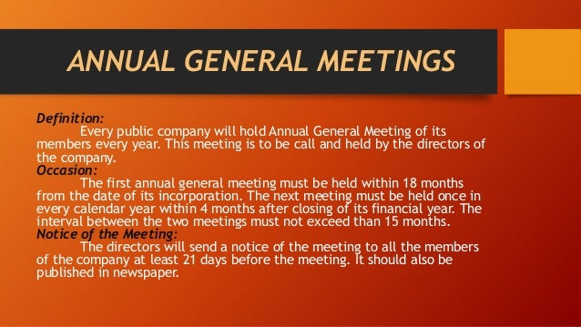 Calendar Year Legal Definition : Company meetings