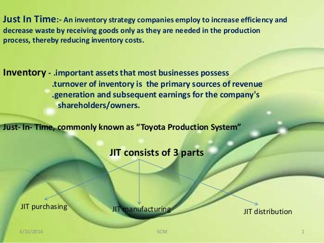importance of just in time inventory system There are several big-name companies in the real world with processes that serve as examples of successful jit systems this article focuses on the benefits that companies like toyota, dell, and harley davidson have gleaned by implementing a just-in-time (jit) manufacturing philosophy.