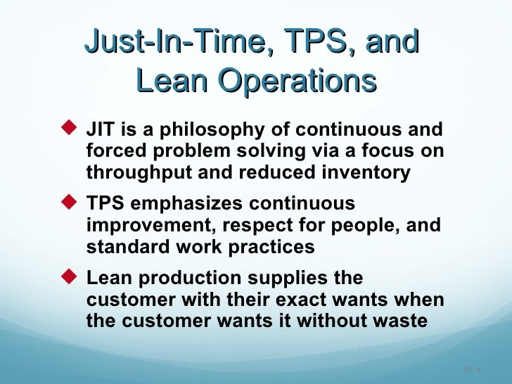Jit Amp Lean Operations