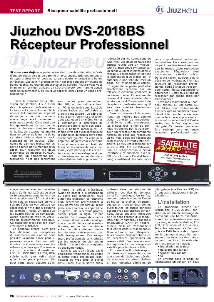 TEST REPORT                  Récepteur satellite professionnel     Jiuzhou DVS-2018BS Récepteur Professionnel             ...