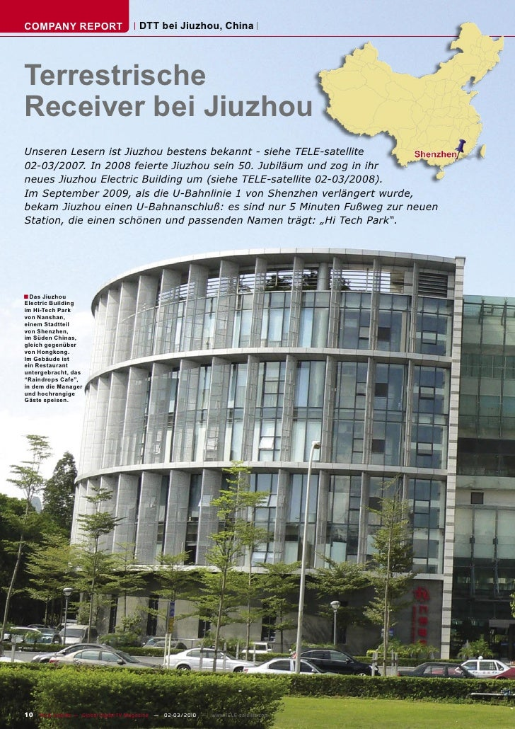 COMPANY REPORT                         DTT bei Jiuzhou, China     Terrestrische Receiver bei Jiuzhou Unseren Lesern ist Ji...