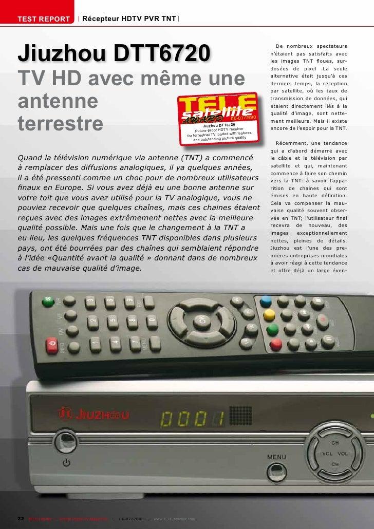 TEST REPORT                   Récepteur HDTV PVR TNT     Jiuzhou DTT6720                                                  ...