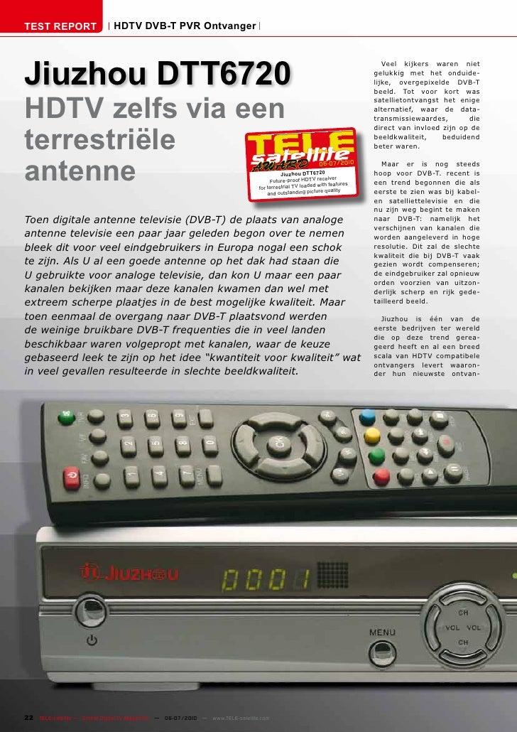 TEST REPORT                   HDTV DVB-T PVR Ontvanger     Jiuzhou DTT6720                                                ...
