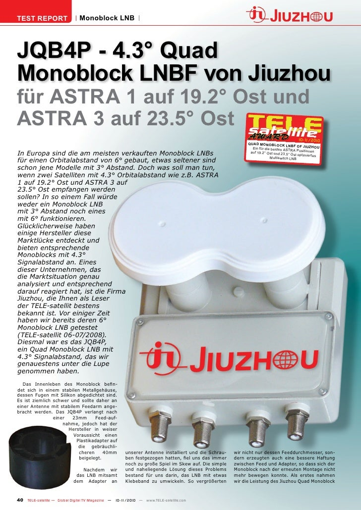 TEST REPORT                   Monoblock LNBJQB4P - 4.3° QuadMonoblock LNBF von Jiuzhoufür ASTRA 1 auf 19.2° Ost undASTRA 3...