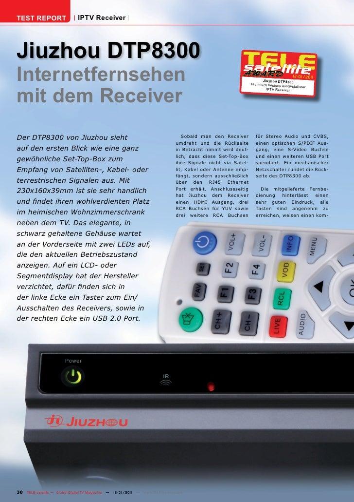 TEST REPORT                   IPTV ReceiverJiuzhou DTP8300Internetfernsehen                                               ...