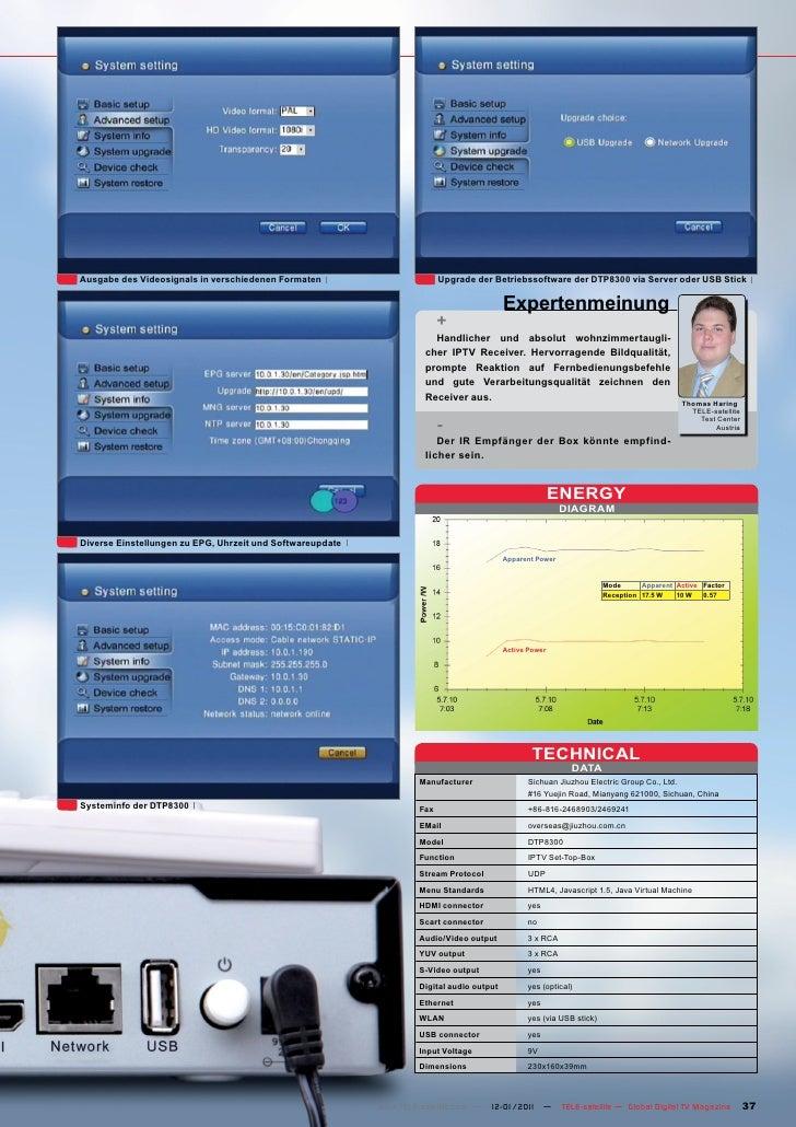 Ausgabe des Videosignals in verschiedenen Formaten                       Upgrade der Betriebssoftware der DTP8300 via Serv...