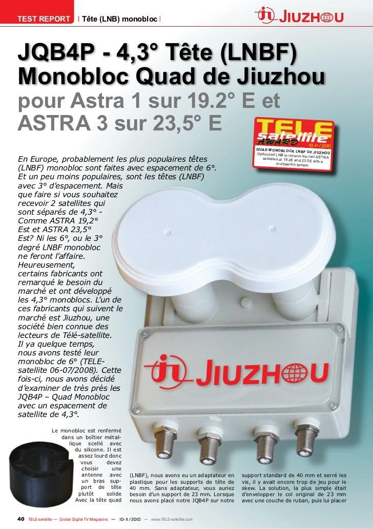 TEST REPORT                   Tête (LNB) monoblocJQB4P - 4,3° Tête (LNBF)Monobloc Quad de Jiuzhoupour Astra 1 sur 19.2° E ...