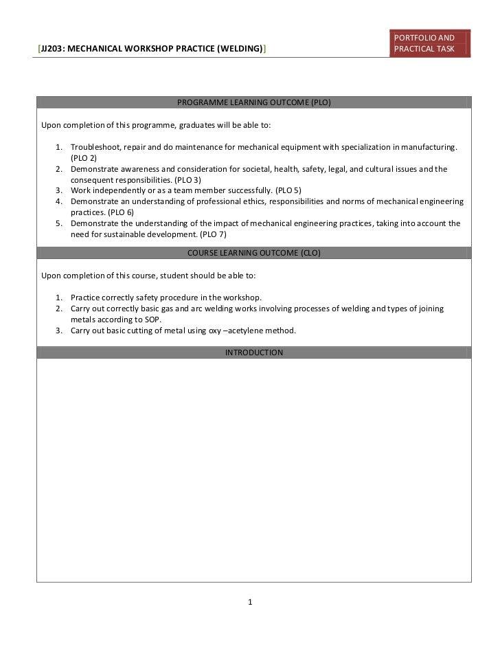 PORTFOLIO AND[JJ203: MECHANICAL WORKSHOP PRACTICE (WELDING)]                                                PRACTICAL TASK...