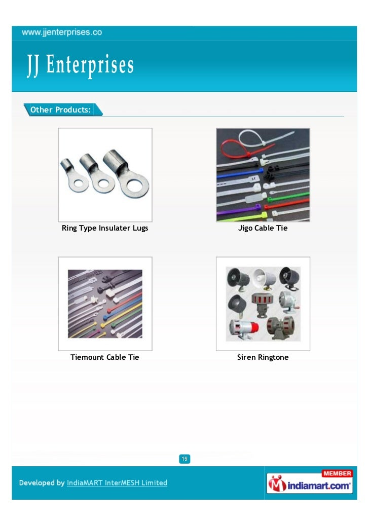Other Products:       Ring Type Insulater Lugs   Jigo Cable Tie         Tiemount Cable Tie       Siren Ringtone