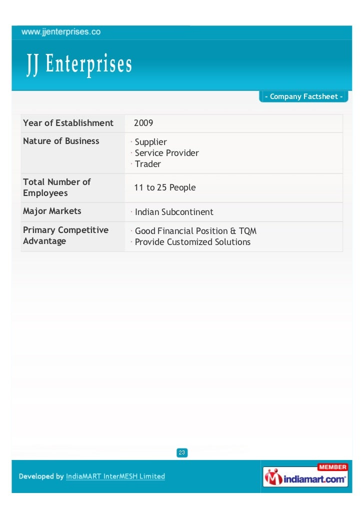 - Company Factsheet -Year of Establishment   2009Nature of Business      Supplier                        Service Provider ...