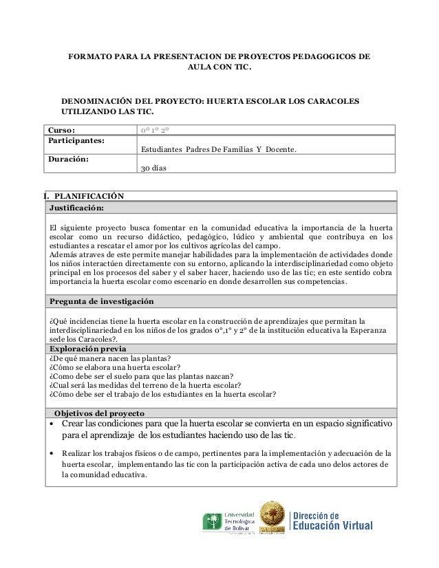 FORMATO PARA LA PRESENTACION DE PROYECTOS PEDAGOGICOS DE AULA CON TIC.  DENOMINACIÓN DEL PROYECTO: HUERTA ESCOLAR LOS CARA...