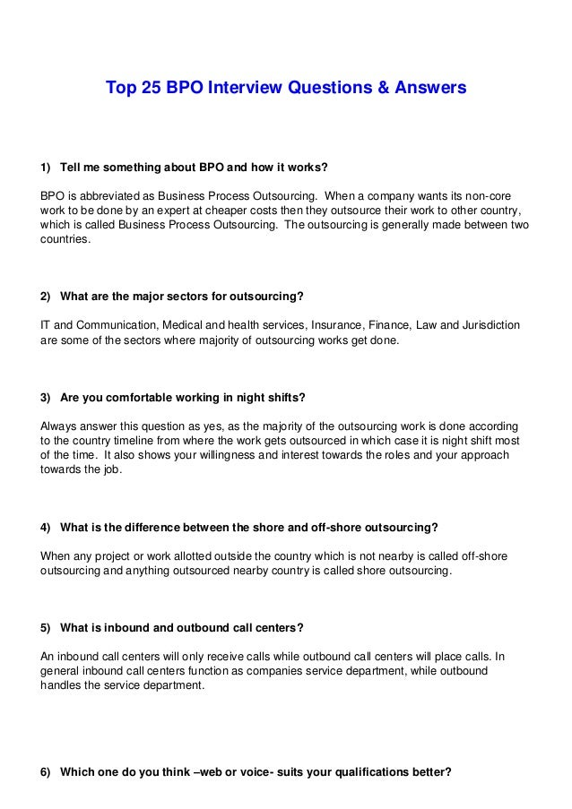 Bpo Interview Important Question