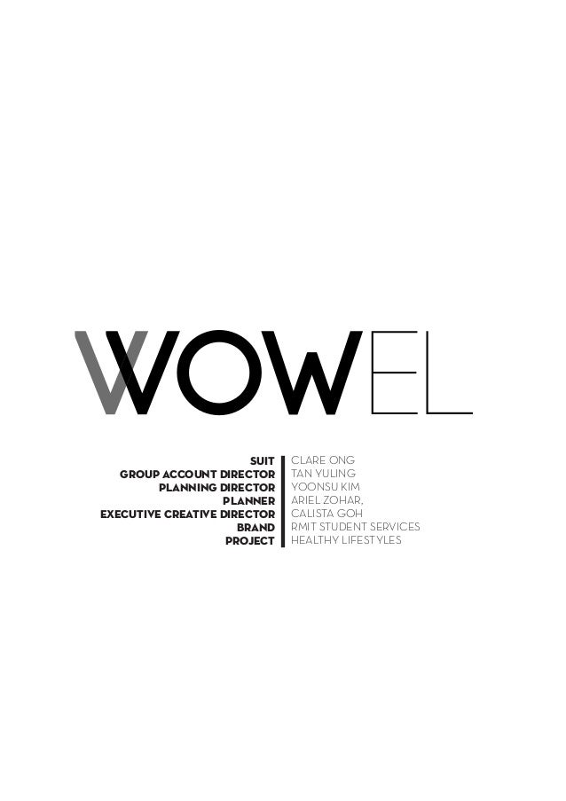 Vowel  V  SUIT  group account director  planning director  Planner  executive creative director  brand  project  CLARE ONG...