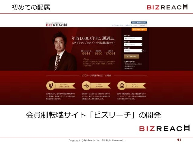 Copyright © BizReach, Inc. All Right Reserved. 初めての配属 41 会員制転職サイト「ビズリーチ」の開発