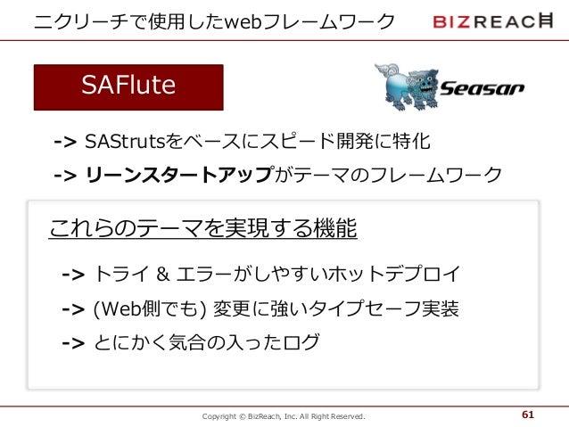 Copyright © BizReach, Inc. All Right Reserved. ニクリーチで使用したwebフレームワーク 61 SAFlute -> SAStrutsをベースにスピード開発に特化 -> リーンスタートアップがテーマ...