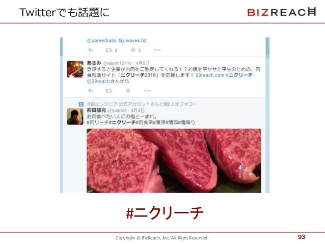 Copyright © BizReach, Inc. All Right Reserved. Twitterでも話題に 93 #ニクリーチ