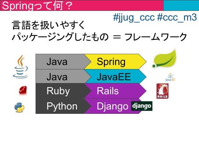 Java Spring Java JavaEE Ruby Rails Python Django 言語を扱いやすく パッケージングしたもの = フレームワーク Springって何? #jjug_ccc #ccc_m3
