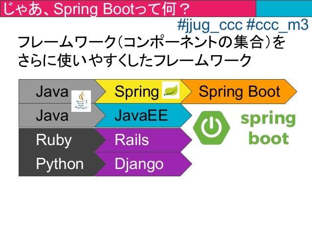 Spring BootJava Spring Java JavaEE Ruby Rails Python Django フレームワーク(コンポーネントの集合)を さらに使いやすくしたフレームワーク じゃあ、Spring Bootって何? #jj...