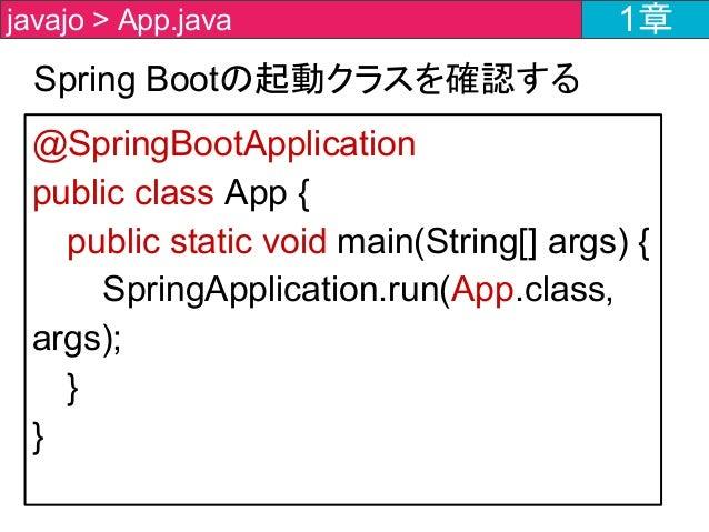 @SpringBootApplication public class App { public static void main(String[] args) { SpringApplication.run(App.class, args);...