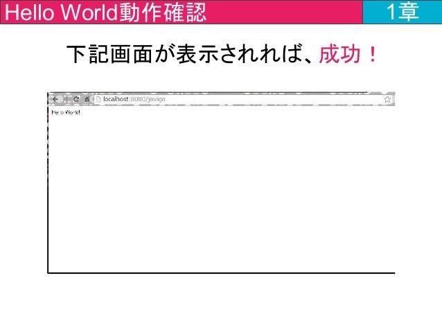 下記画面が表示されれば、成功! 1章Hello World動作確認 1章