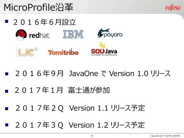 MicroProfile沿革 Copyright 2017 FUJITSU LIMITED 2016年6月設立 2017年1月 富士通が参加 2016年9月 JavaOne で Version 1.0 リリース 2017年2Q Version ...